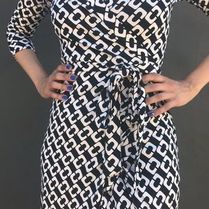Diane Von Furstenberg Dresses - DVF Abigail Chain Link Silk Wrap Dress